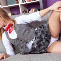 Teen cutie Rachel James flashing upskirt schoolgirl panties before baring flat chest