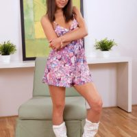 Teen hottie Foxy Di revealing small tits and nipples in cowgirl boots and panties