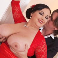 BBW Nila Mason unleashing nice melons before giving big cock handjob and blowjob