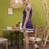 Blonde European first timer Nikitina freeing hairy pussy from underwear in heels