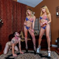 Blonde wife Mickey Tyler and bikini clad girlfriend lead collared male sub on leash