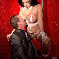 Busty brunette stripper Savana Ginger face sitting man in high heels and lingerie