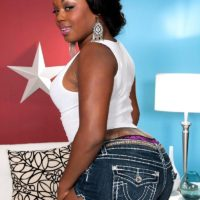 Chubby black amateur Jayden Starr showing off big black booty in thong panties