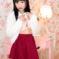 Cute Asian teen Yui Kawagoe stripping off skirt and lingerie to pose in the nude