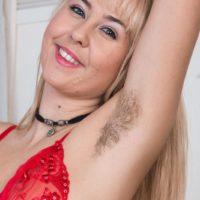 Cute Euro blonde Aali Rousseau revealing hairy pink pussy underneath panties