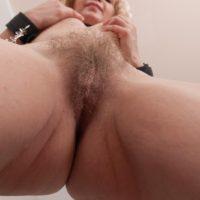 Cute European blonde Baibira unleashing hairy vagina in slave collar and barefeet