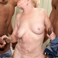 Horny grandma Jewel hooks up with 2 big black cocks for MMF threesome fantasy