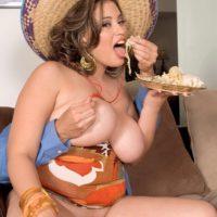 Latina MILF Selena Castro displaying huge natural boobs while tit fucking big cock