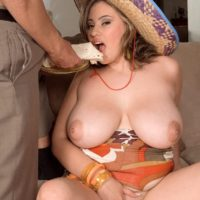 Mexican plumper Selena Castro flaunting large natural tits while getting tit fucked