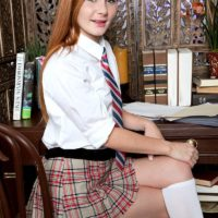 Redhead amateur Alex Tanner freeing small teen tits from schoolgirl uniform