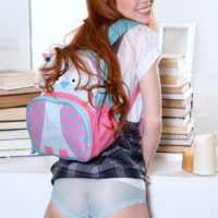Redhead teen Dolly Little loosing small tits and tight ass from under school uniform