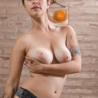 Short haired amateur chick Sue revealing big natural tits and hairy vagina