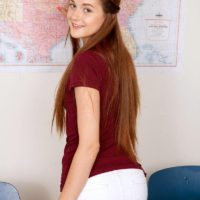 Tiny redhead first timer Alex Mae stripping down to white panties and brassiere