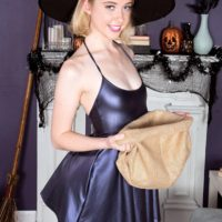 Young blonde pornstar Chloe Couture flashing tiny tits in beaver in cosplay outfit