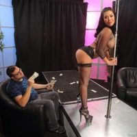 Dark haired MILF pornstar London Keyes taking anal sex in fishnets at stripclub