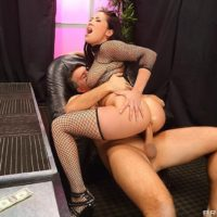 Dark haired MILF pornstar London Keyes taking anal sex in fishnets at stripclub