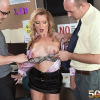 Mature blonde schoolteacher Amanda Verhooks caught giving blowjob in skirt