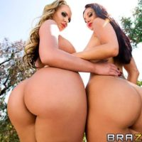 MILF pornstars Phoenix Marie and Ava Addams giving BJ and taking anal sex outside