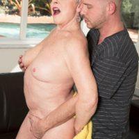Over 60 grandmother Jewel loosing big tits from bikini before doggystyle fucking