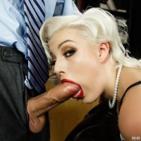 Platinum blonde pornstar Jenna Ivory giving BJ before anal toying and fucking