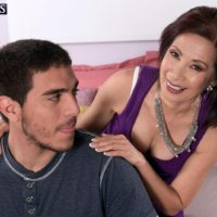Tiny Asian granny Kim Anh flashing white lace panties to seduce younger man