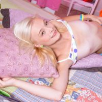 Barely legal blonde teen Maddy Rose releasing tiny tits from bra in bedroom