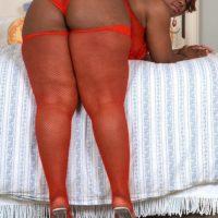 Black SSBBW Amira Jones releasing big booty from panties before pussy fucking