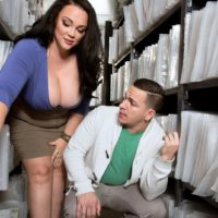 Brunette BBW Charlotte Angel strip naked for doggystyle fucking by co-worker
