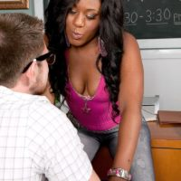 Brunette chick Serenity Evans showing off panty attired big booty in classroom