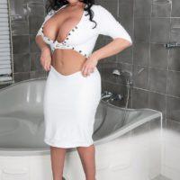 Brunette MILF pornstar Sheridan Love loosing perfect tits and pierced nipples in bathroom