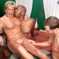 Busty over 70 granny Sandra Ann undressed for interracial MMF threesome sex