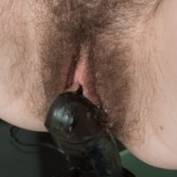 European amateur Yana Cey fingering her hairy pussy while riding suction dildo