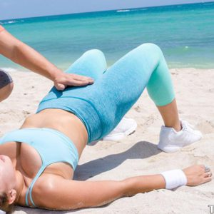 Fit beach beauty Ivy Rose loosing big natural tits from yoga clothes before sex
