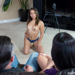 Latina MILF Mercedes Carrera and teen hottie Sara Luvv stack asses in threesome