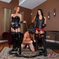 Leather wearing Dommes Michelle & Lacy abusing hooded male slave in long boots
