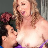 Over 50 MILF Summer Sands having erect nipples licked clean of whip cream