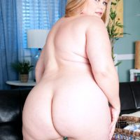 Overweight blonde solo girl Marcy Diamond freeing huge ass from denim shorts