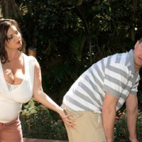 Thick brunette chick Maria Moore having huge boobs exposed outdoors