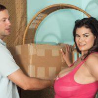 Brunette Latina plumper Haydee Rodriguez unleashing massive boobs from dress