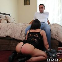 Brunette MILF Melina Mason getting ass fucked after giving large cock oral sex