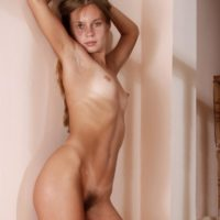 Dirty blonde European amateur showing off hairy pussy after stripping naked