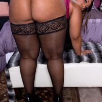 Fat black solo girl Cherry Blossoms flaunting big booty in stockings and lingerie