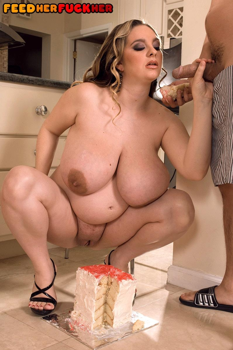 Fat chick April McKenzie displaying huge boobs while sucking cock and eating food