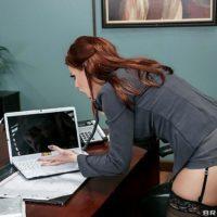 MILF pornstar Britney Amber getting ass fucked wearing stockings on office desk