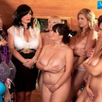 MILF pornstar Valory Irene and girlfriends expose huge tits and bare asses together