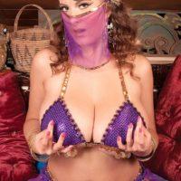 MILF pornstar Valory Irene posing seductively non nude in harem girl uniform