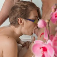 Nerdy Euro chick Yulenka Moore taking cock in hairy pussy after giving blowjob