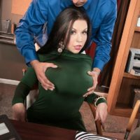 Big boobed brunette MILF Sheridan Love stripped naked by coworker in office