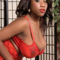 Black MILF Janet Jade revealing huge tits while wearing stockings and garters