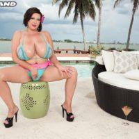 Brunette MILF Paige Turner fondling huge bikini covered tits outdoors on beach